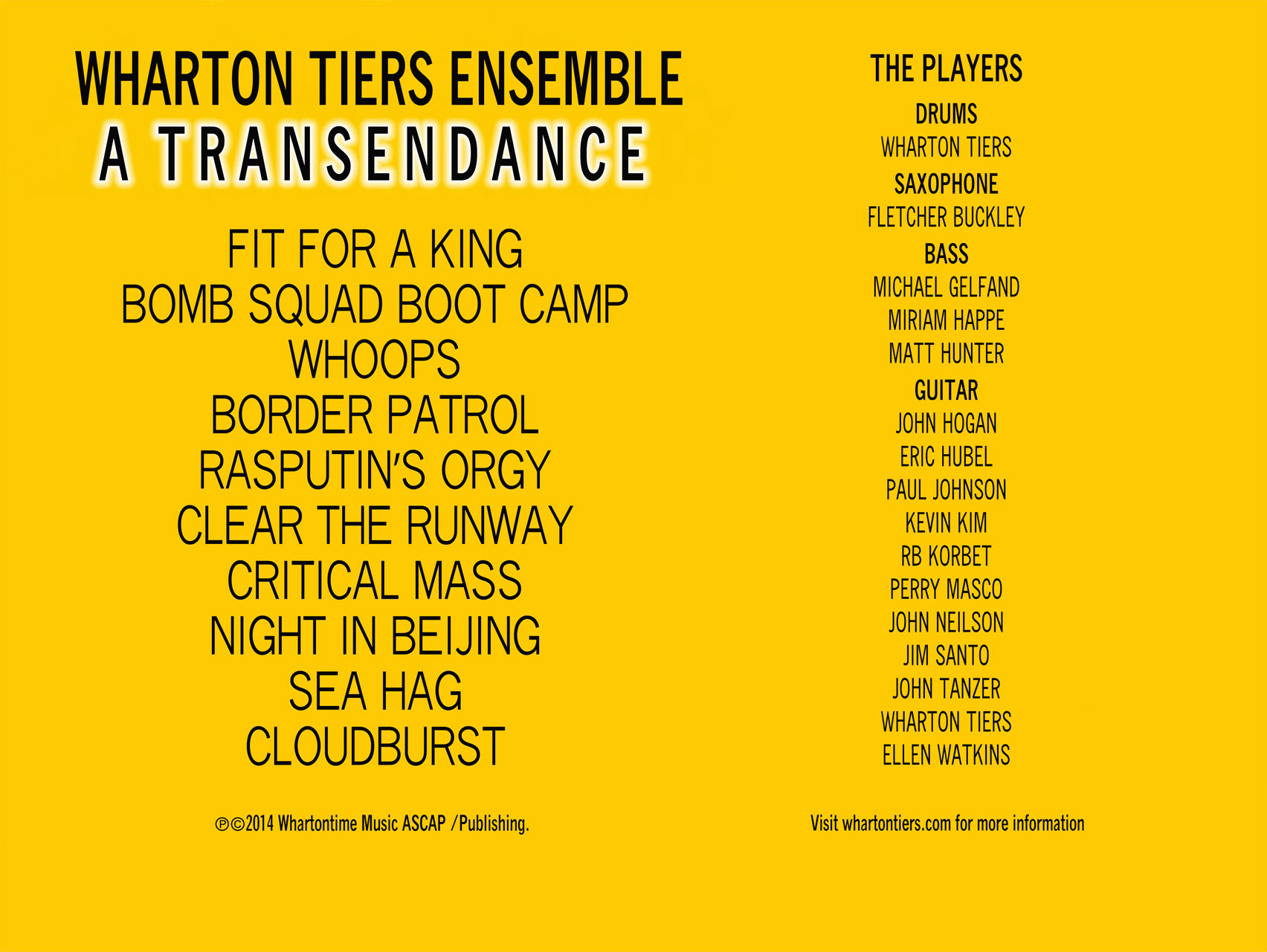 Wharton Tiers Ensemble, A Transendance digital booklet